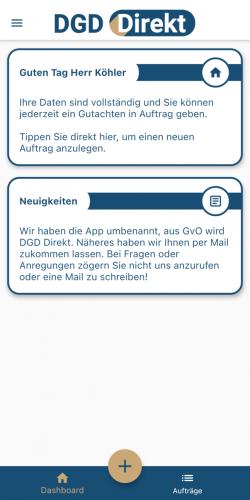 Dashboard mit Neuigkeiten